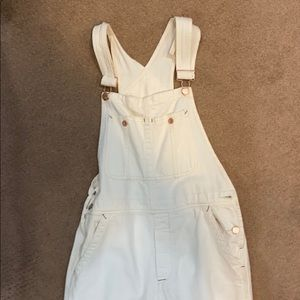 Free people white denim overalls
